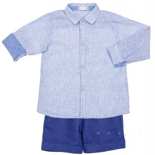 Conjunto Niño Camisa Rayas & Short Lino Azulina