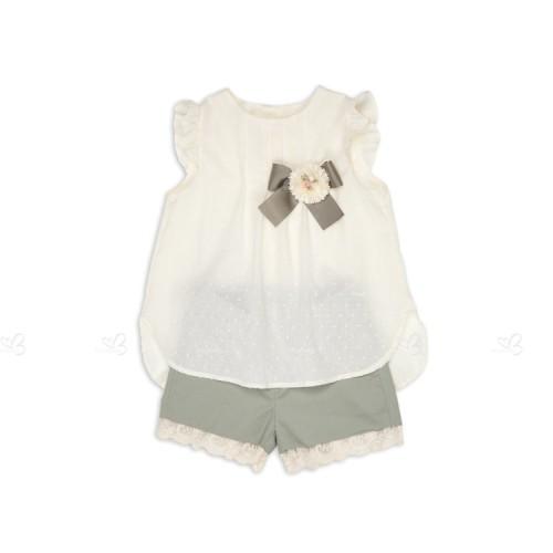 Conjunto Blusa Plumeti & Short Verde