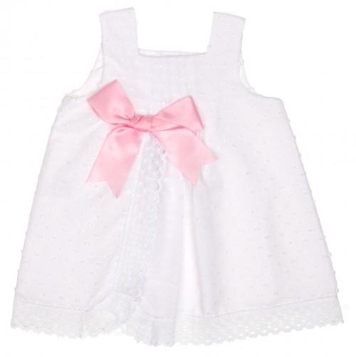 Vestido plumeti & puntilla blanco con lazo rosa
