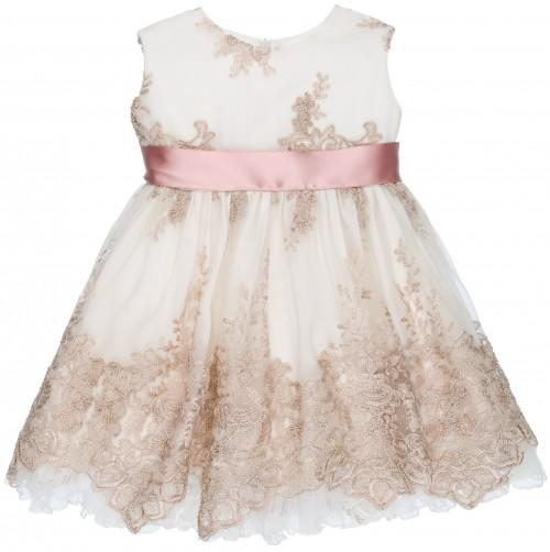 Rochy Vestido Niña Vintage Tul Bordado Crudo & Rosa Empolvado