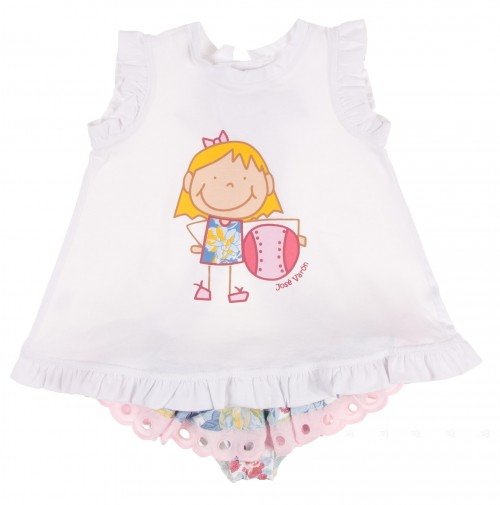 Conjunto vestido niña con pelota & culetín floral volante