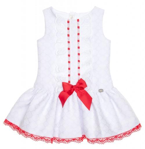 Vestido Brocado Blanco & Rojo