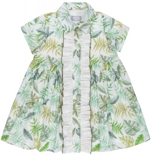 Rochy Vestido Niña Camisero Estampado Tropical