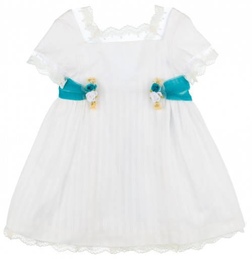 Foque Vestido Niña Lazada & Flores Tul Turquesa Rayas Blanco Roto