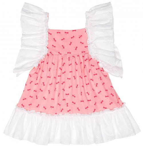 Baby Yiro Vestido Niña Rosa Volantes Puntilla Blanco