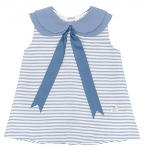 Vestido Rayas & Cuello Azul