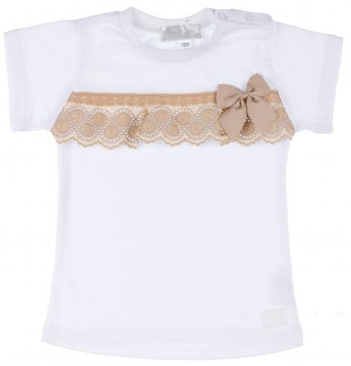 Camiseta Bebé Niña Algodón Blanco & Puntilla Beige
