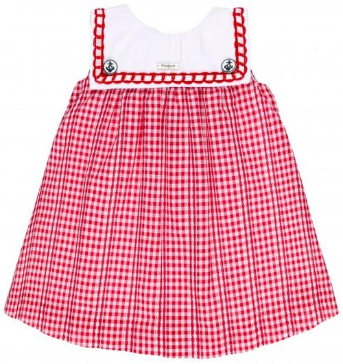 Vestido Niña Marinero Vichy Rojo & Cuello Babero