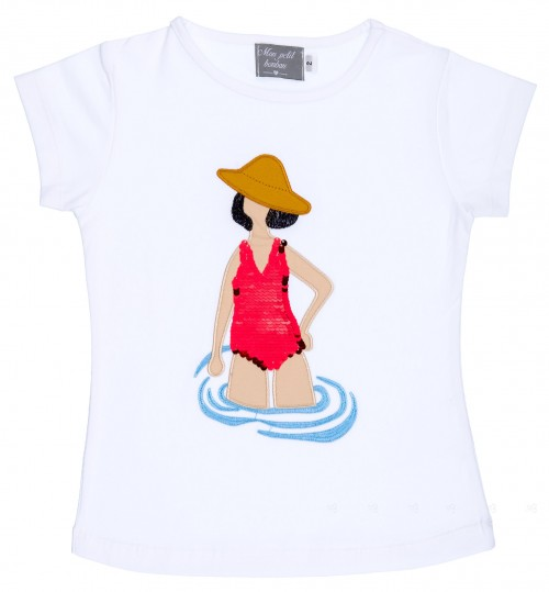 Mon Petit Bonbon Camiseta Niña Chica con Bañador Lentejuelas Reversibles