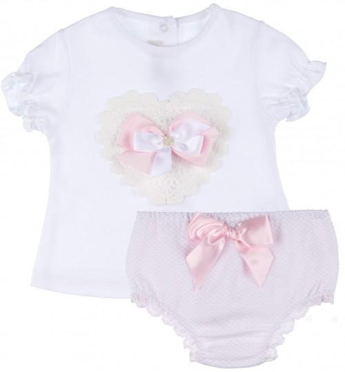 Dolce Petit Conjunto Bebé Niña Camiseta Corazón Blanco & Braguita Plumeti Rosa