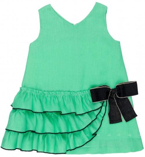 Rochy Vestido Niña Volantes Verde & Lazo Negro
