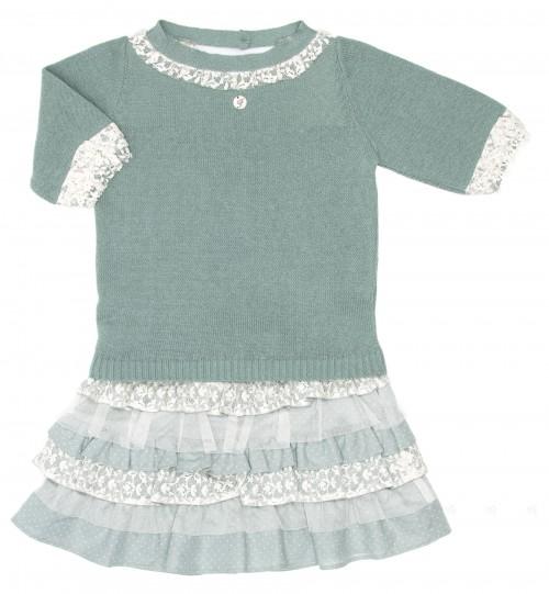 Conjunto Jersey & Falda Volantes Verde
