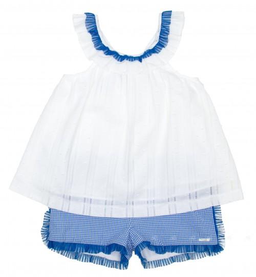 Conjunto Top Blanco & Short Vichy Azul