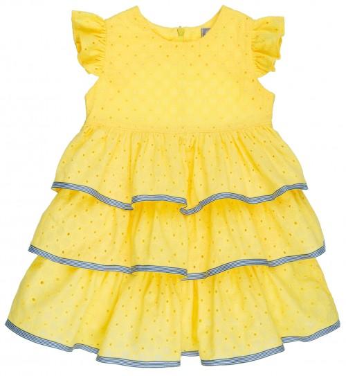 Rochy Vestido Niña Volantes Perforado Amarillo