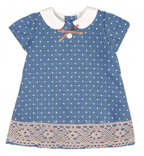 Vestido Motitas Beige & Azul Cuello Bebé