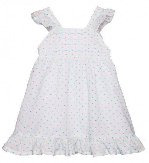Vestido Plumeti Blanco & Aguamarina con Volantes & Lazo