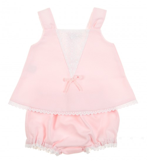 Conjunto vestido & braguita piqué rosa