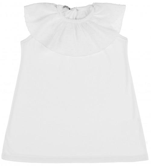 Ancar Vestido Niña Algodón & Cuello Volante Plumeti Blanco