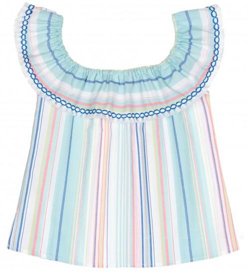 Blusa Rayas Azul & Rosa con Cuello Volante Flecos Blanco