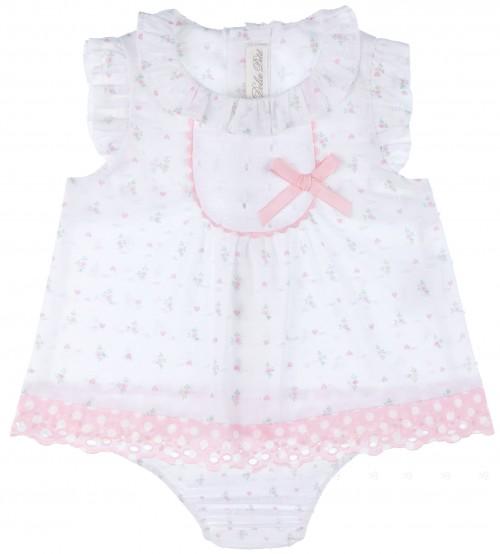 Conjunto Bebé Niña Blusa & Braguita Algodón Flores Rosa
