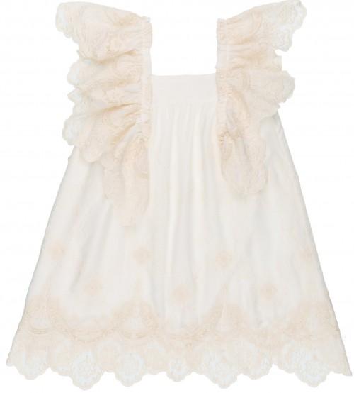 Rochy Vestido Niña Mangas Mariposa Bordado Crudo