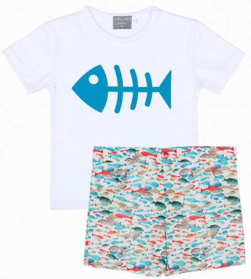 Mon Petit Bonbon Conjunto Niño Camiseta Raspa & Short Peces
