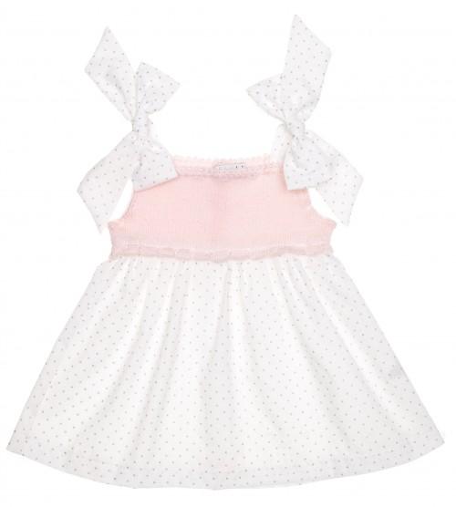 Vestido Combinado Rosa & Blanco Topitos