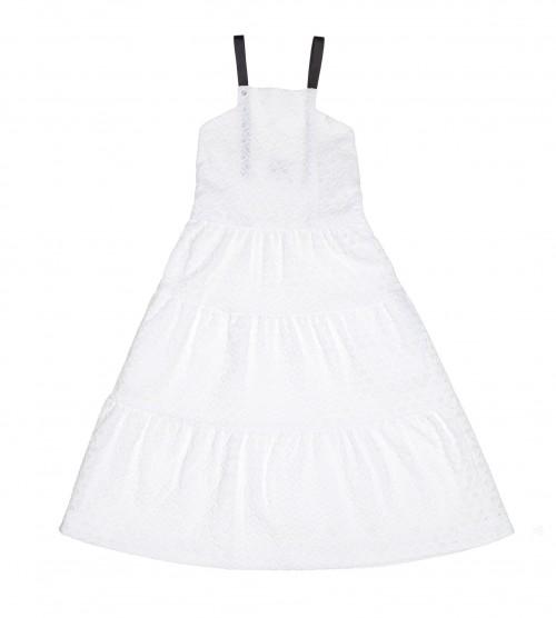 Vestido Midi Perforado Blanco