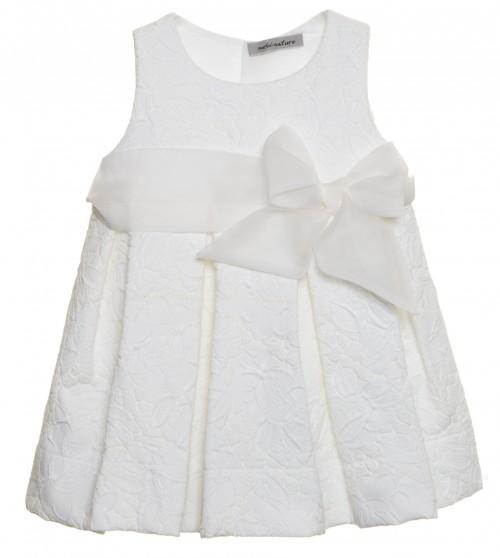 Vestido tablas y organza de seda natural blanco