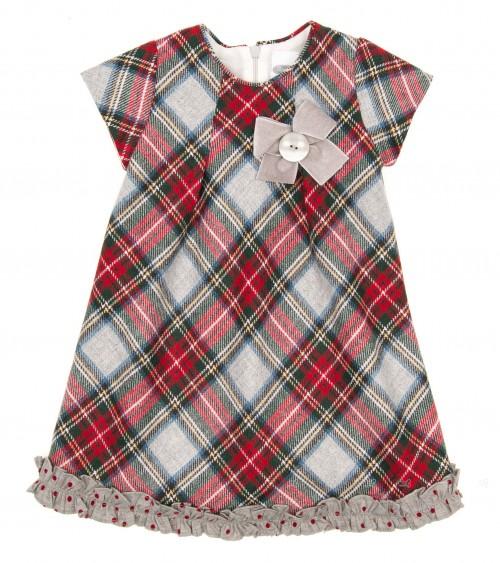 Vestido Escocés Rojo & Gris Lazo Terciopelo
