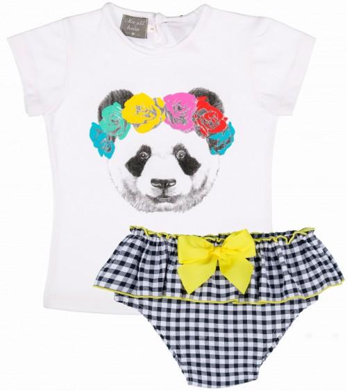 Mon Petit Bonbon Conjunto Bebé Camiseta Oso & Braguita Vichy Negro