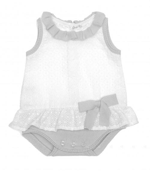 Body-Vestido combinado gris & blanco con lazo