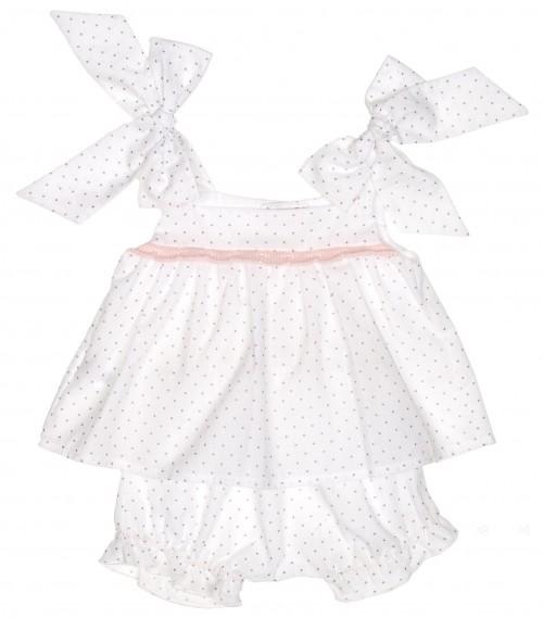 Conjunto vestido & short algodón extra suave rosa & blanco topitos
