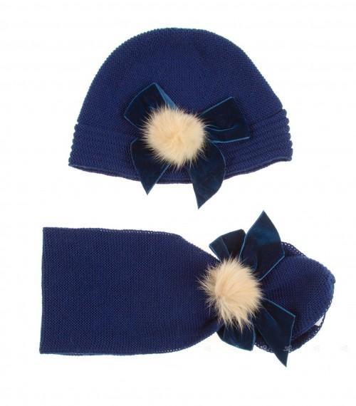 Conjunto Gorro & Bufanda Azul Colección Venecia