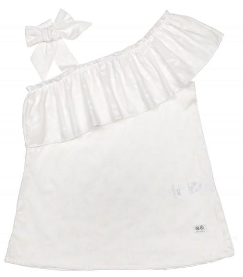 Vestido Niña Playa Volante Asimétrico Estampado Floral Blanco