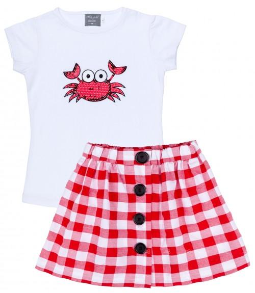 Mon Petit Bonbon Conjunto Niña Camiseta Cangrejo & Falda Vichy Rojo