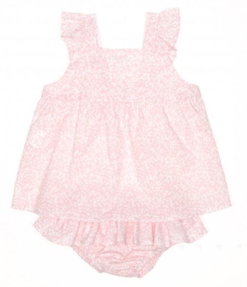 Conjunto vestido & braguita volantes rosa