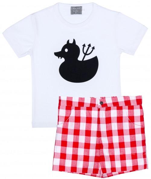 Mon Petit Bonbon Conjunto Niño Camiseta Pato & Short Vichy Rojo