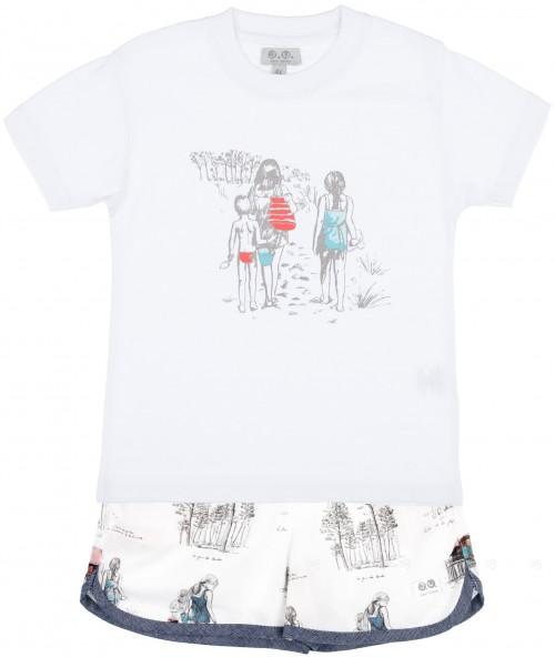 J.V José Varón Conjunto Niño Camiseta Blanca & Short Familia Vacaciones Vintage