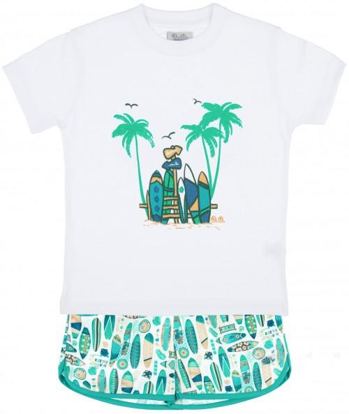 J.V José Varón Conjunto Niño Camiseta Algodón Blanco & Short Tablas Surf Verde
