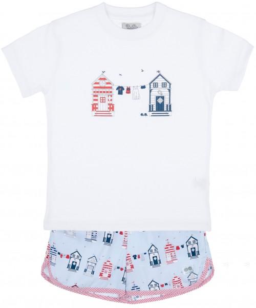 J.V José Varón Conjunto Niño Camiseta Algodón & Short Estampado con Casas Marineras