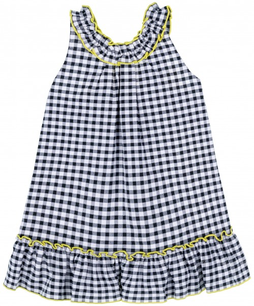 Mon Petit Bonbon Vestido Niña Vichy Negro & Lazos Amarillos
