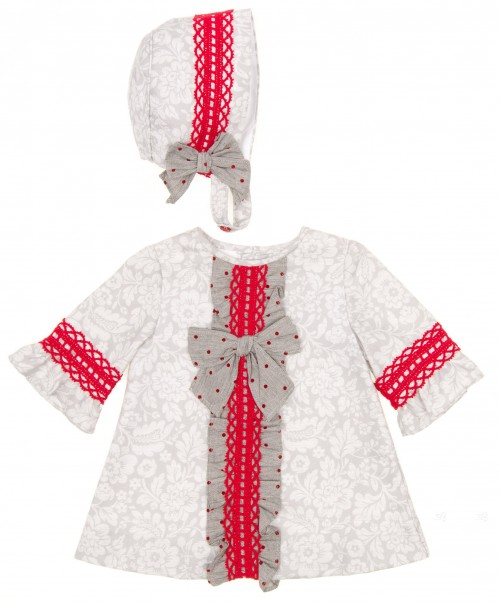 Conjunto Vestido & Capota Floral Gris