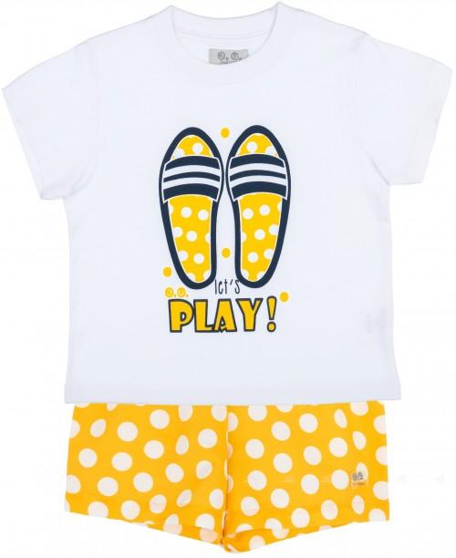 J.V José Varón Conjunto Niño Camiseta Sandalias Playa Blanco & Boxer Lunares Amarillo