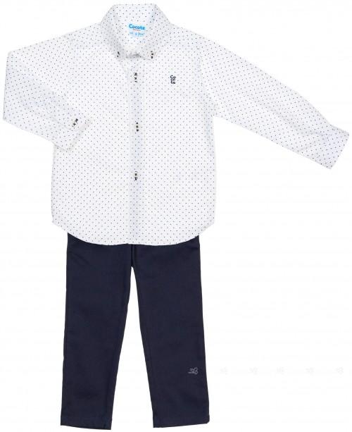 Cocote Conjunto Niño Camisa Lunares & Pantalón Marino