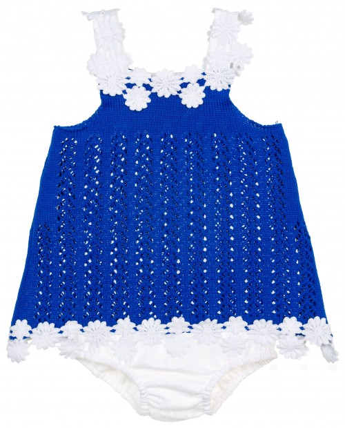 Marané Jesusito Punto Calado Azul Flores Blanco Dos Piezas