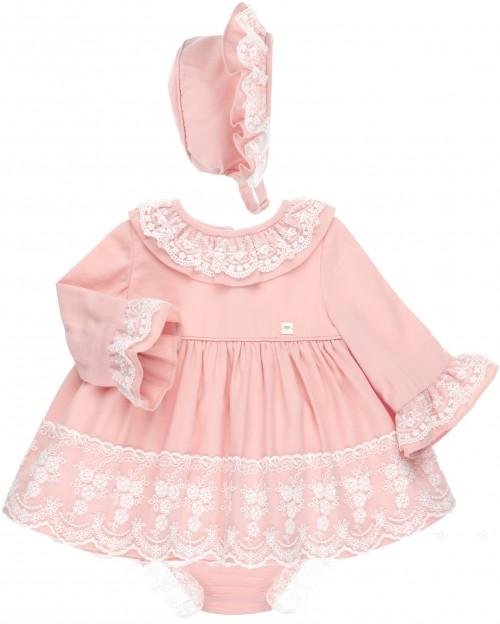 Dolce Petit Conjunto 3 Piezas Rosa con Volantes Tul Bordado Blanco