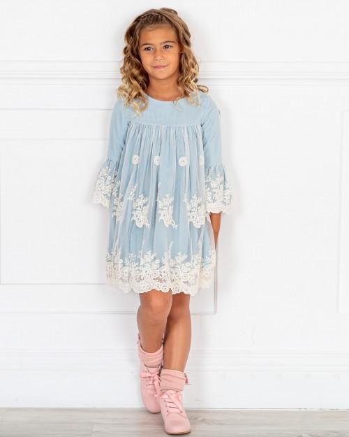 Outfit Niña Vestido Tul Bordado Azul & Botines Piel Rosa