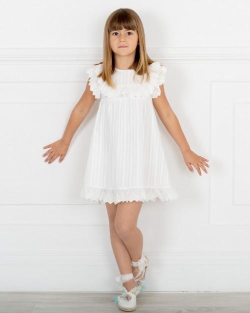 Outfit Niña Vestido Rayas & Volantes Bordados Algodón Blanco & Alpargatas Flores Empolvados