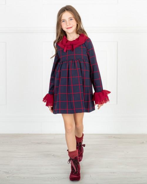 Missbaby Vestido Alma Cuadros Marino & Rojo con Volantes Tul Plumeti